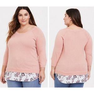 TORRID Peach Pink Raglan 2fer Sweater NWT - 00 M/L